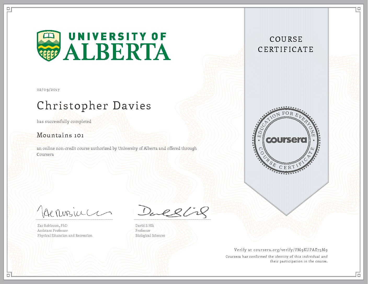 Mountains 101 Certificate Cdavies Chris Davies